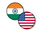 India's flag and America's flag superimposed on discs.