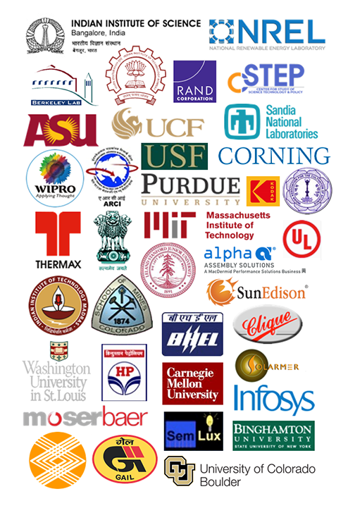 A group of logos for participants in the Solar Energy Research Institute for India and the United States (SERIIUS), including two consortium leads, four research thrust leads, three consortium partners, 12 university partners, and 12 industry partners.